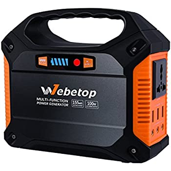 Webetop Portable Generator Power Inverter Battery 42000mAh 100W Camping CPAP Emergency Home Use UPS Power Source Charged by Solar Panel/ Wall Outlet/ Car with 110V AC Outlet,3 DC 12V,3 USB Port