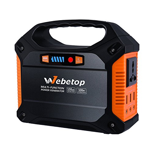 Webetop 155Wh 42000mAh Portable Generator Power Inverter Battery 100W Camping Emergency Home Use UPS Power Source Charged by Solar Panel/Wall Outlet/Car with 110V AC Outlet,3 DC 12V,3 USB Port