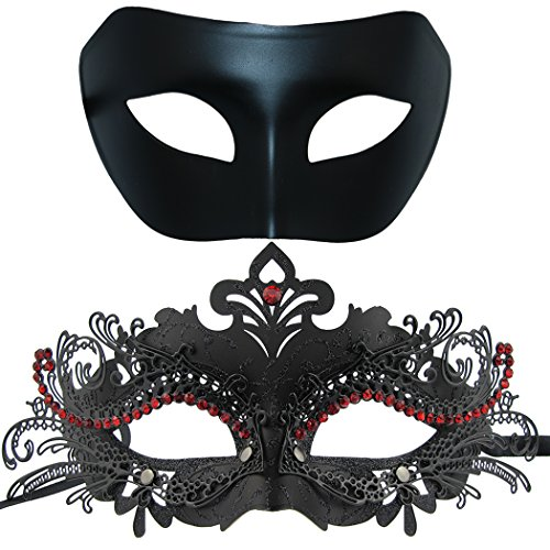 Couples Venetian Masquerade Mask, Shiny Metal Rhinestone Halloween Costume Party Mask 2 Pack (Black&Black-red) ()