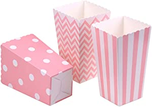 Tvoip 36Pcs/Lot Colorful Favor Candy Treat Popcorn Boxes for Candy&Food&Chocolate Wedding&Birthday&Movie Party Supplies (Pink)