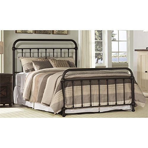 - BOWERY HILL Queen Metal Spindle Panel Bed in Dark Bronze