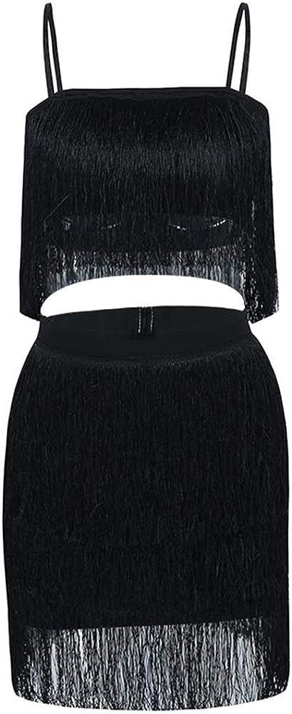 Romacci Damen Quasten Zweiteiler Kleid Spaghetti Strap Crop Top Hohe Taille Rock Fransen Bodycon Club Party Zwei St/ücke Set