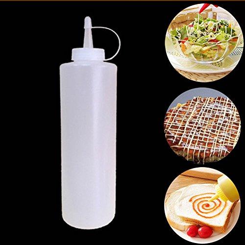 Botella de salsa, Botellas plásticas para poner salsa de tomate o salsa para ensalada, botella de cocina, transparente de...