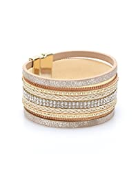 YOYOMA Leather Bracelets for Women and Men,Magnetic Wrap Bangle Bracelet Multilayer Cuff Bracelet with Crystal