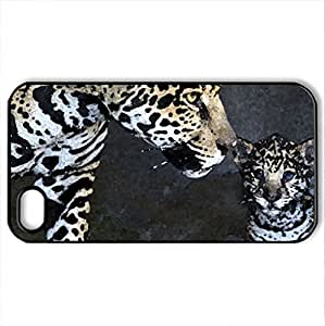 Beautiful leopards - Case Cover for iPhone 4 and 4s (Watercolor style, Black)