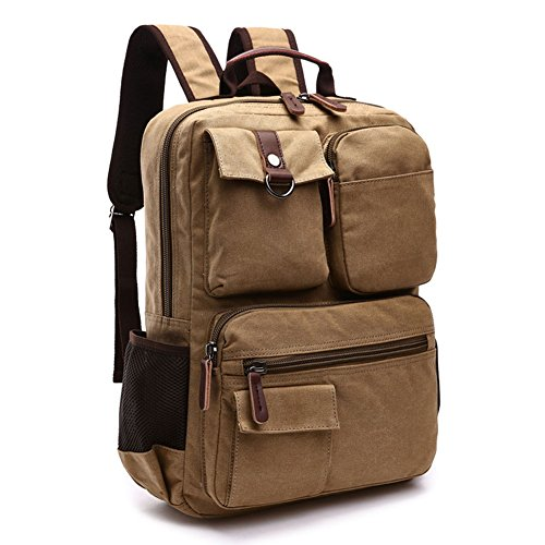 Travel Outdoor Computer Backpack Laptop bag small(khaki) - 8