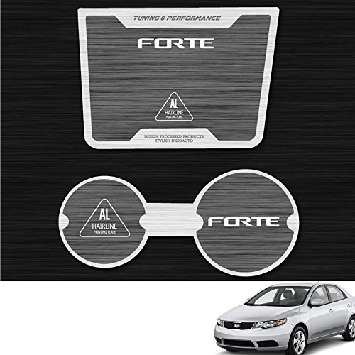 Koup 2009 2010 2011 2012 2013 Silver /& Black Plate Aluminum Hairline Two Block Cup Holder Console Plate Accessories 2P For Kia Forte