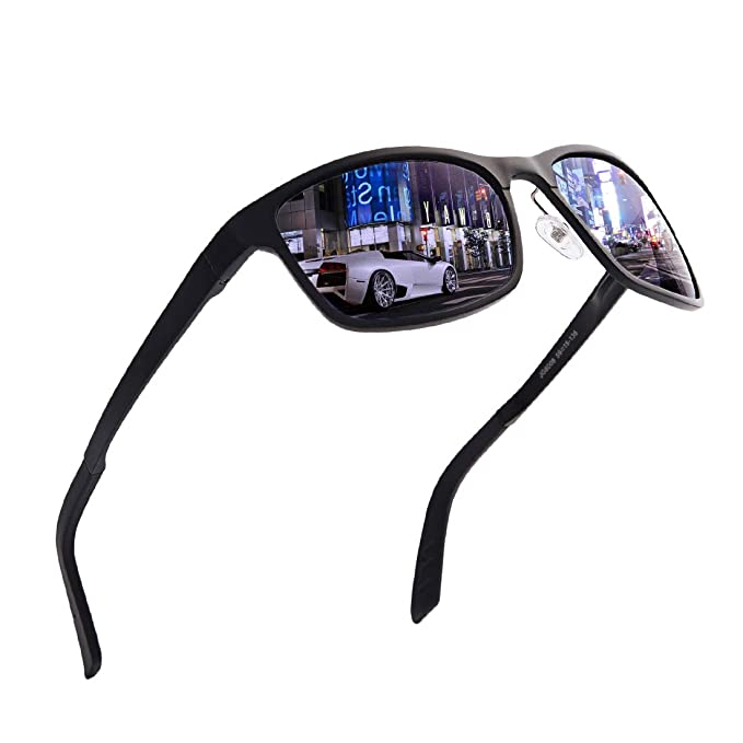 4f0674814e Polarized Sunglasses For Men Women Wayfarer-Fashion Oversized Metal Frame  UV Protection Driving (Black