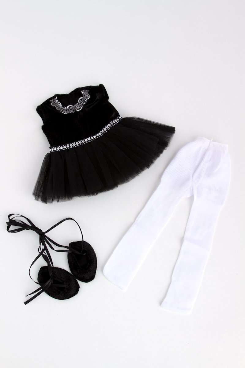 03f9a60ea DreamWorld Collections DWC-1112 Black Swan Tights and Ballet Shoes 3 piece  ballerina outfit doll not included Black Leotard ...