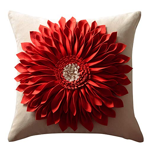 - OiseauVoler Decorative 3D Sunflower Throw Pillow Cases Handmade Accent Cushion Covers for Home Sofa Car Bed Room Decor 18 x 18 Inch