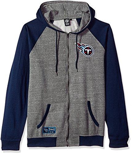 NFL Men's Tennessee Titans Full Zip Fleece Hoodie Sweatshirt Jacket Contrast Raglan, Large, Gray (Mens Hoodie Tennessee)