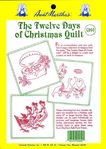 Aunt Martha's 12 Days of Christmas Iron On Transfer Pattern Collection