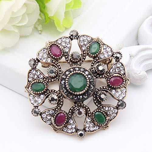89132b94ec Amazon.com: Vintage Turkish Women Resin Round Flower Brooch Pins ...