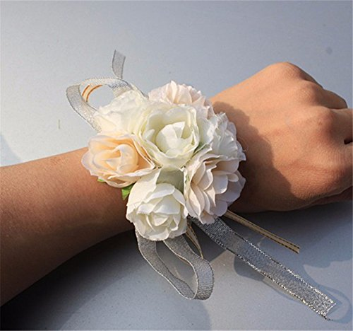 (Prettybuy 2pcs Package Wedding Prom Party Fabric Flower Wrist Corsage Flower w/ Elastic Wristband (Peach/Ivory))