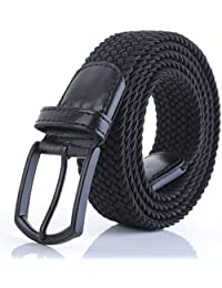 "Men's Stretch Woven 1.3"" Wide Elastic Braided Belts"