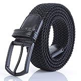Weifert Men's Stretch Woven 1.3''Wide Elastic Braided Belts (34-37, Black 4)