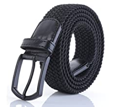 "Weifert Men/'s Stretch Woven 1.3/""Wide Elastic Braided Belts 48-50 Khaki+Blue"