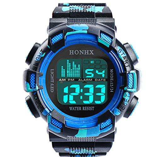 Fxbar, Men Sport Watch LED Screen Automatic Watch Analog Quartz Alarm Date Sports Wrist Watch(B)