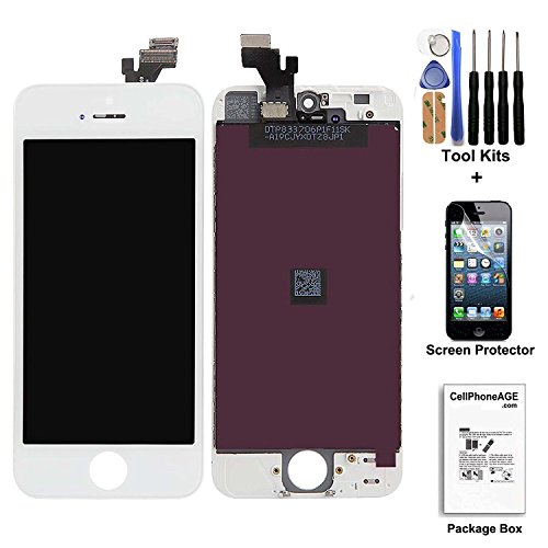 cellphoneage White for iPhone 5 5G LCD Replacement screen Display Glass Touch Screen Digitizer Assembly kit with Free screen protector (White)