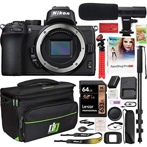 Nikon Z50 Mirrorless Camera Body 4K UHD DX-Format Bundle with Deco Gear Deluxe Gadget Bag Case Bundle + Microphone + Monopod + 64GB Memory Card & Accessories