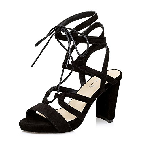 Xing Lin Chaussures D'Été Pour Les Femmes Nouvelles D'Été Épais Avec Croix Romaine Ouvert Toe Strap Sandales Femmes Talon Haut black VlaD5mxn