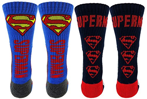 DC Comics Superman Athletic Socks 2 Pair Pack (One Size, Blue/Red/Grey)