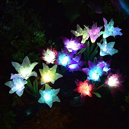 [4 Pack] Solar Lights Outdoor - Solar Garden Lights with 16 Lily Flowers | Color Changing LED Solar Stake Lights for Garden, Patio, Path, Backyard by AWJ Products (Image #1)