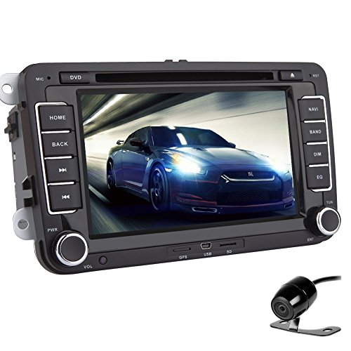 Doppel-DIN-im Schlag GPS-Auto-DVD-Player-Navigation Auto Stereo 7-Zoll-Sat Nav Hauptger?t f¨¹r VW Polo Touran Autoradio mit Digital-Bildschirm-Can-Bus Bluetooth + Free R¨¹ckfahrkamera