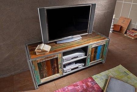 Mueble TV – Metal y Madera Maciza Reciclado Lacado Estilo Urbano – New York # 01: Amazon.es: Hogar