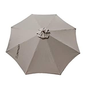 "Formosa Covers Replacement Umbrella Canopy for 11ft 8 rib Market Outdoor Patio Shades in Taupe Ribs length 64"" to 66"" (Canopy Only)"