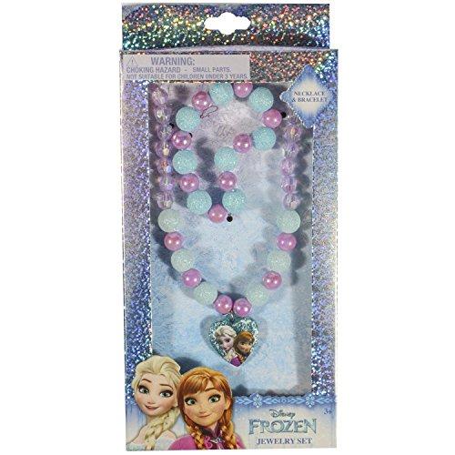 Disney Frozen Girls Kids Jewelry Set Bead Bracelet Bead Necklace Plastic Charm (Plastic Charm Bracelets)