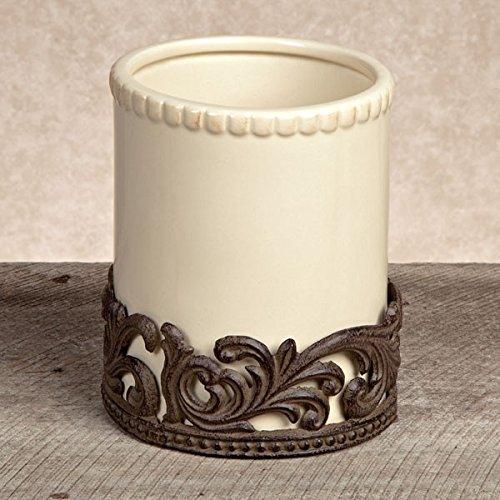 Holder Utensil Collection - GG Collection Cream Ceramic Utensil Holder with Metal Base