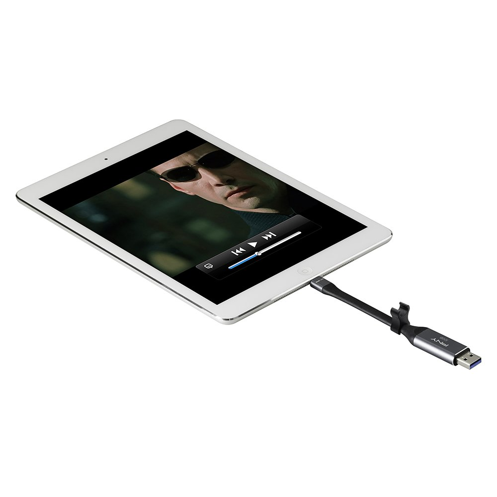 P-FDI32GLA02GC-RB PNY Duo Link Sync /& Charge 32GB Metal Gray for iPhone//iPad