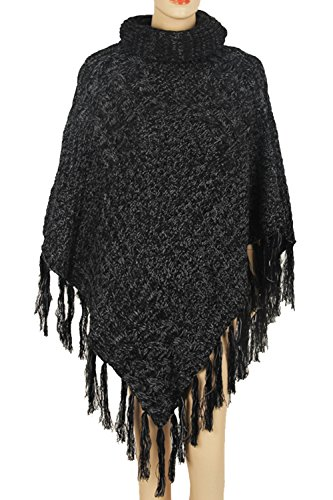 Pink Queen Women's Warm Turtleneck Knitted Chunky Poncho Shawl Sweater Jumper (One Size, A-Black) ()