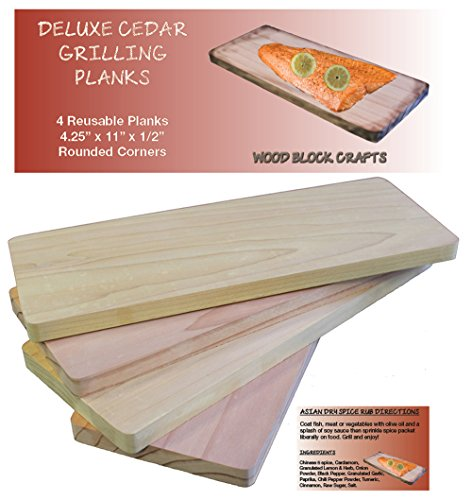 """Deluxe Cedar Grilling Planks - Made in USA - 4.25"""" x 11"""" & 1/2"""" Thick for Perfectly Grilled Salmon, Meat & Veggies - Set of 4 - Rounded Corners - Asian Spice Rub Bonus - Father's Day or Hostess Gift"""