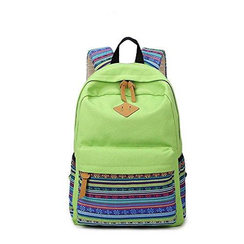 Kwlet Casual Studenten Laptop Rucksack Schule College Schulter Reise Unisex Rucksack Right Pack Leinentasche Rucksäcke Wandern Reise Daypack Casual Bag Green