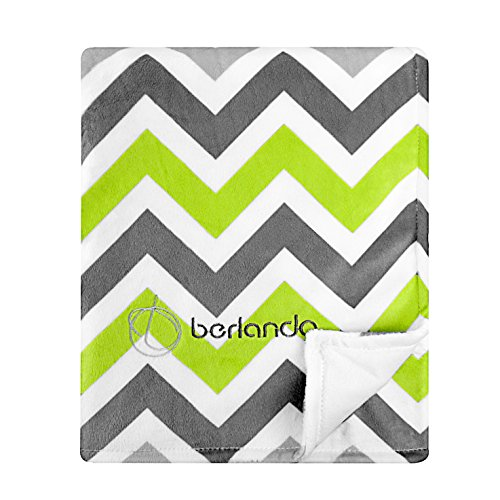 berlando Signature Edition Chevron Baby Blanket, 100% Polyester, Green and Gray Signature Plush Receiving Blanket