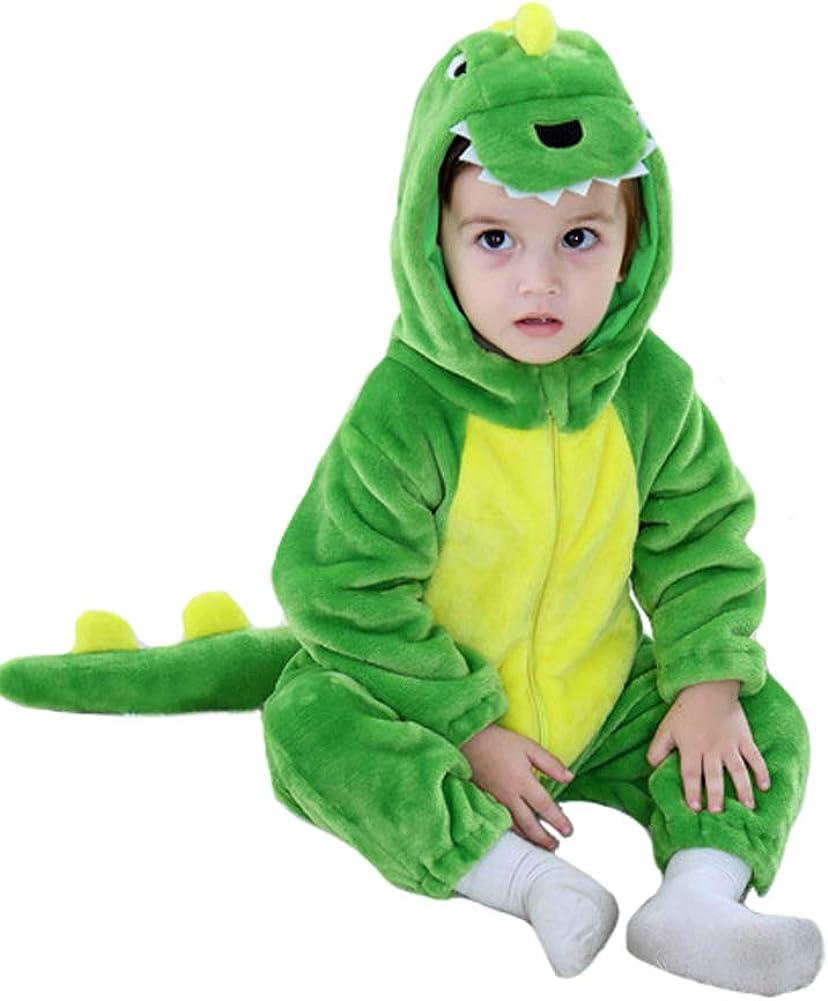 Tonwhar Toddler Infant Tiger Dinosaur Animal Fancy Dress Costume Hooded Romper Jumpsuit