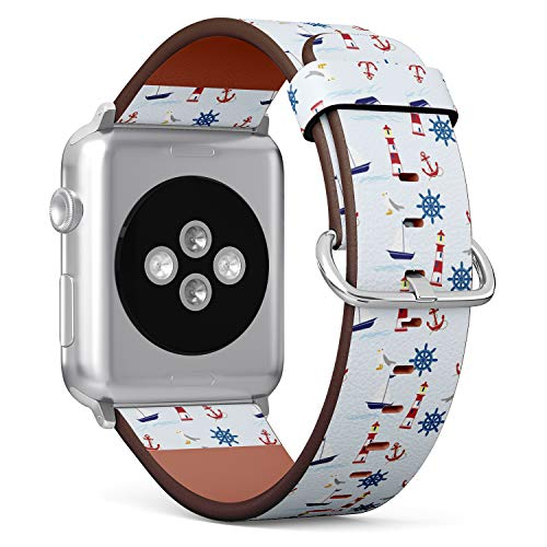 (Nautical Pattern with Lighthouse, Anchor, Sailboat and Seagull) Patterned Leather Wristband Strap for Apple Watch Series 4/3/2/1 gen,Replacement for iWatch 38mm / 40mm Bands
