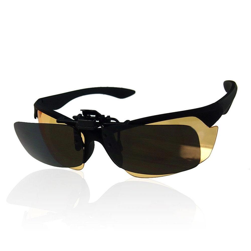 Rungao Lunettes de vue pour la conduite HD vision de nuit lunettes /à clipser et rabattables Lunettes de soleil verres PC