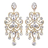 BriLove Gold-Toned Dangle Earrings for Women Vintage Style Bridal Crystal Drop Hollow Filigree Chandelier Earrings Clear