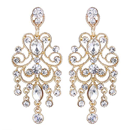 - BriLove Wedding Bridal Dangle Earrings for Women Vintage Style Crystal Drop Hollow Filigree Chandelier Dangle Earrings Clear Gold-Toned