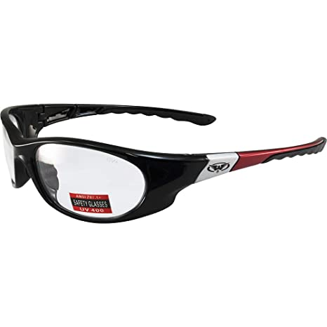 5f17c6ec8e Amazon.com  Global Vision Marathon Motorcycle Sunglasses Red and Silver  Accented Frames Clear Lens  Home Improvement