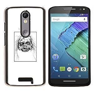 EJOOY---Cubierta de la caja de protección para la piel dura ** Motorola Moto X3 3rd Generation ** --Zombie Head - White Walker