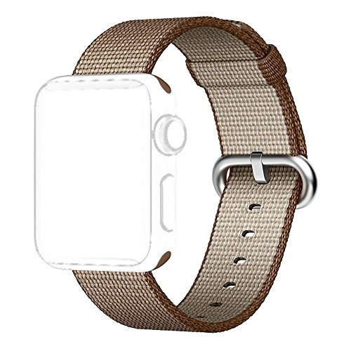 ElectroBuyOnline Fine Woven Nylon Strap Replacement Wrist Band Strap for Apple iWatch Series 1 Series 2 (42mm) (Toasted Coffee/Caramel, M/L)