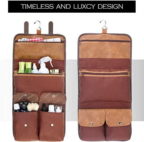 VANCASE Hanging Toiletry Bag for Men Leather Shaving Kit/Bathroom Shower Dopp Bag/Travel Accessories Organizer/Great Gift