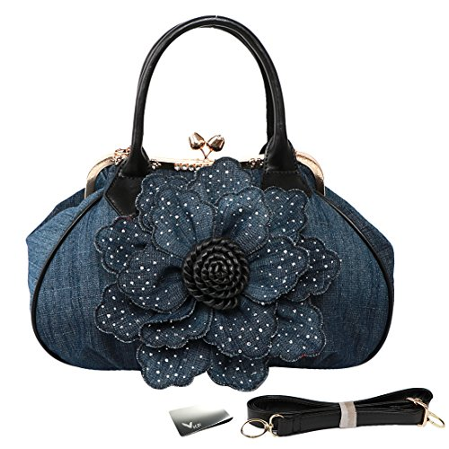 kilofly Women's Large Flower Denim Satchel Handbag Shoulder Bag + KF Money Clip ()