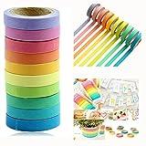 Itian 10x Washi Tape Set Decorative Washi Rainbow Sticky Paper Masking Adhesive Tape Scrapbooking DIY Colorful Decorative Sticker