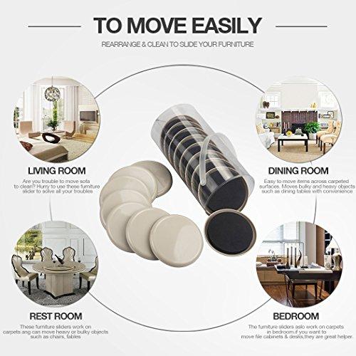 16 PCS Furniture Sliders For Carpet 3.5 Inch Diameter Furniture Movers Easy For Moving Furnitures Furniture Moving Pads For Carpet by K-PROTECTOR (Image #1)