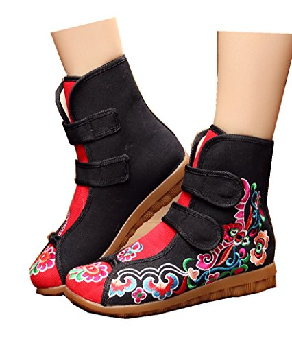 Black Crown Boot Style and Toe Ankle Embroidery Women's Ladies N Round Chinese TIANRUI 7wRxA